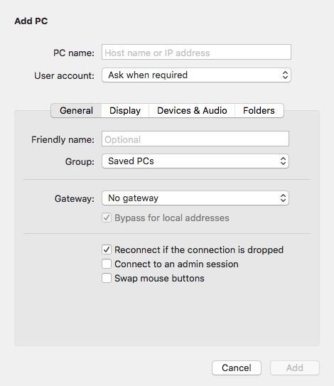opciones del escritorio remoto para mac