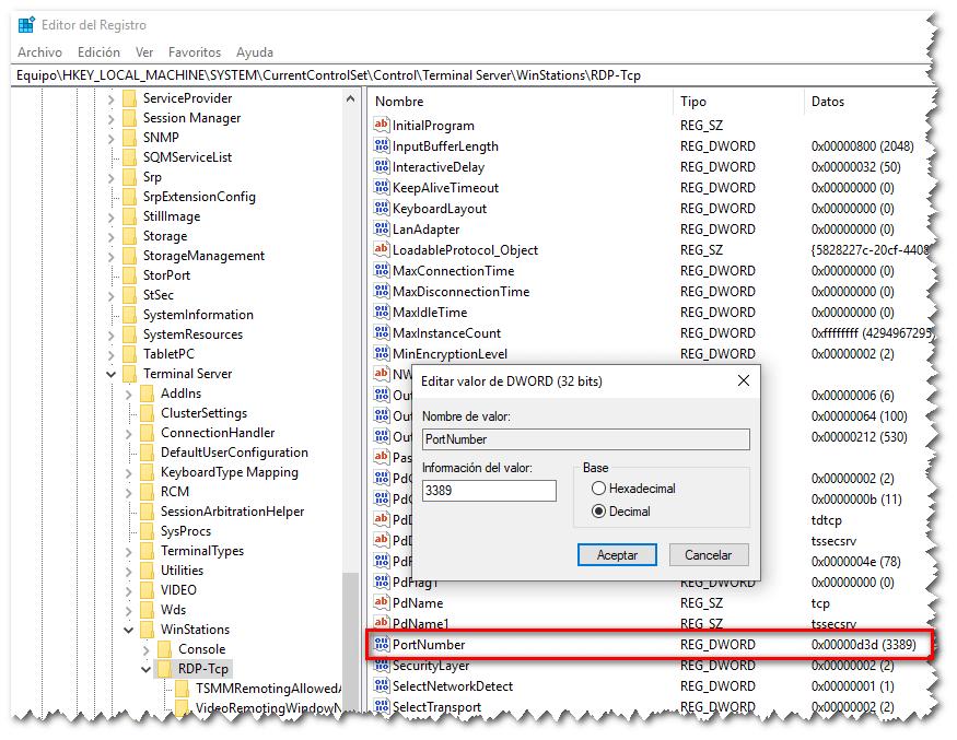 Registro de Windows, cambio de puerto RDP